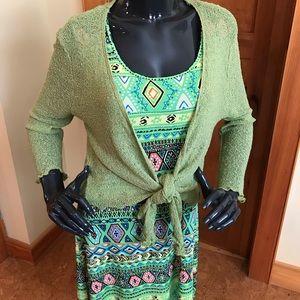 Onyx green mesh wrap sweater